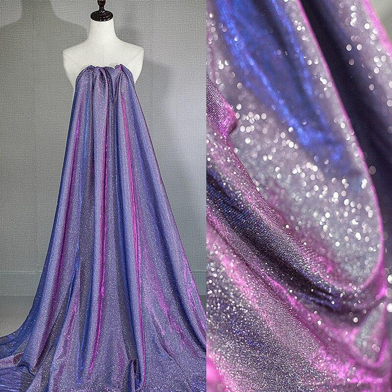 Tela de tul elástica de brillo brillante de color púrpura de alta calidad vendida por el metro