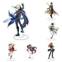 anime genshin impact zhongli character action figure stand model plate desk decor barbara cute standing sign boy girl collect