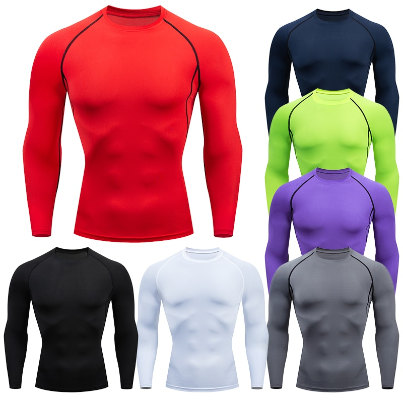 Men Compression Running T Shirt Fitness Tight Long Sleeve Sport tshirt Training Jogging Shirts Gym S