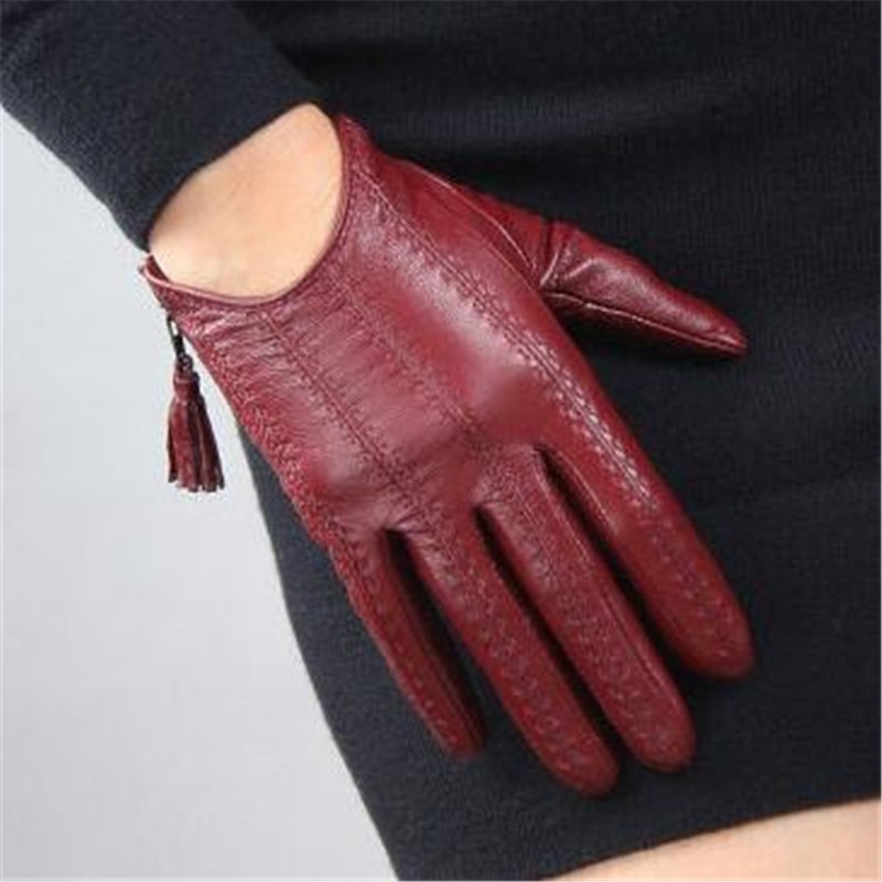 Women's Genuine Leather Gloves Red Classic Goatskin Touch Screen Gloves Tassel Zipper Short Leather