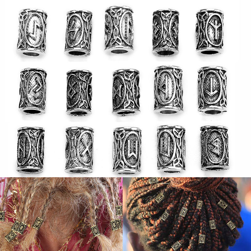 10pcs/lot Viking Runes Charms Beads For Hair Braid Beard Metal Alloy Big Hole Spacer Beads Diy Neckl