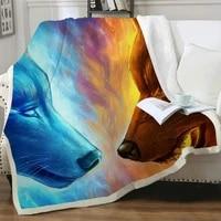 nknk wolf blankets animal plush throw blanket war thin quilt flame 3d print sherpa blanket new premium polyester winter