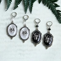 gothic dangle spider cameo earringssmall spider earringswitchesgothic victorian silver plated framed spider cameo earrings