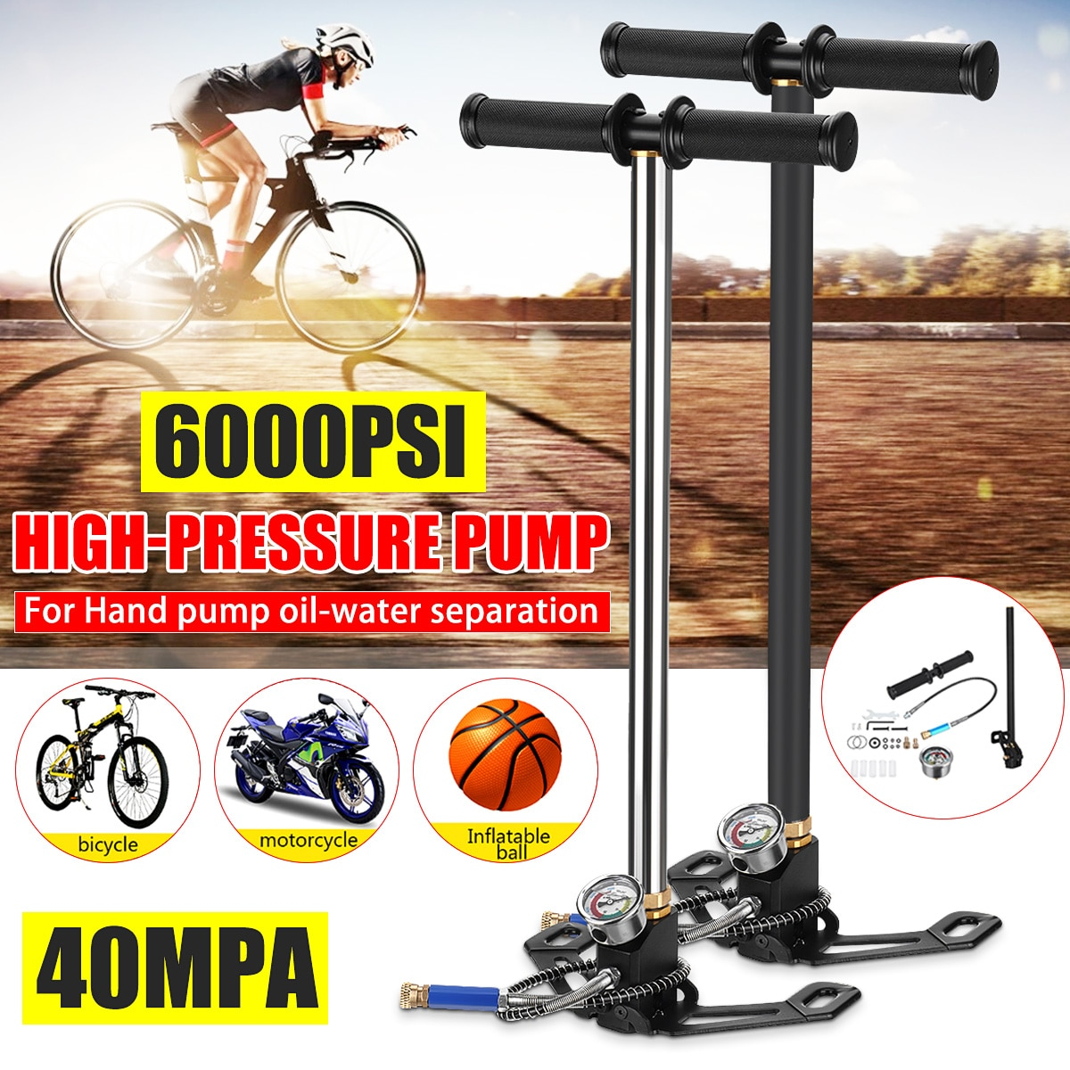 40Mpa 6000psi Air Pcp Pump Stainless Steel Foldable High Pressure Hand Pump with filter Pneumatic Pump Stirrup Pump Up To 6000Ps