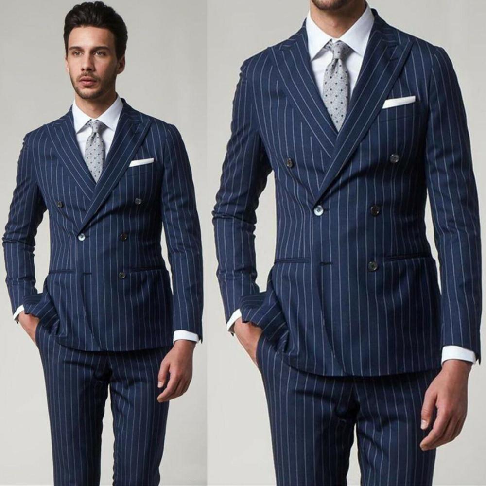 YIWUMENSA مخطط ملابس العريس الرجال الدعاوى لحفلات الزفاف مزدوجة الصدر حفلة موسيقية البدلات الرسمية عشاء حفلة التدخين بليزر 2021