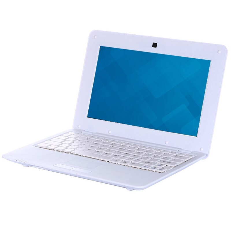 HD Portable 10.1Inch Quad-Core Android System Without Optical Drive Mini White Laptop Netbook(US Plug)