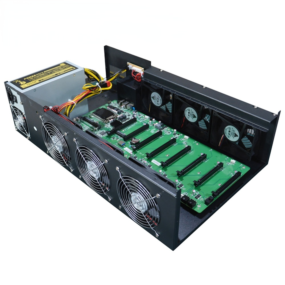 2018 8GPU mining motherboard ETH Bitcoin mining hardware Ethereum Mining Rig Case with1850W Miner PSU
