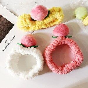 Cute Peach Hairy Hair Band Fashion New Peach Fruit Wash Face Elastic Hair Band Makeup Hair Accessories Women