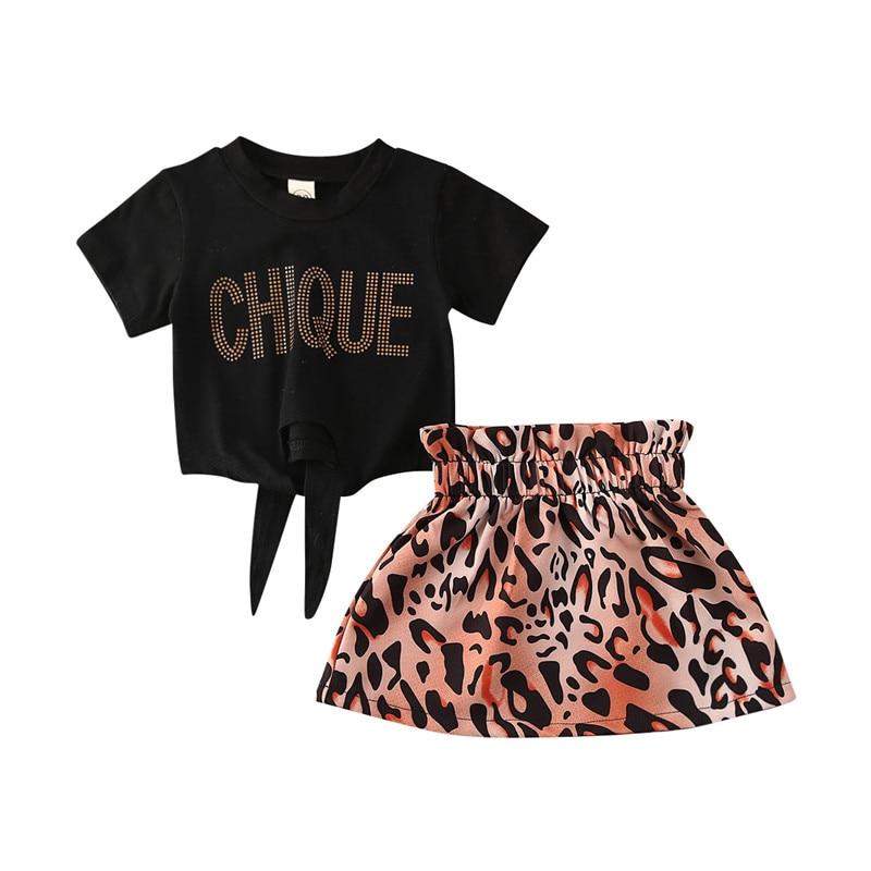 1-5T sweet Baby Girl summer Clothes Toddler Kids short sleeve black T shirt top Floral skirt 2 pcs Girls Fashion Set