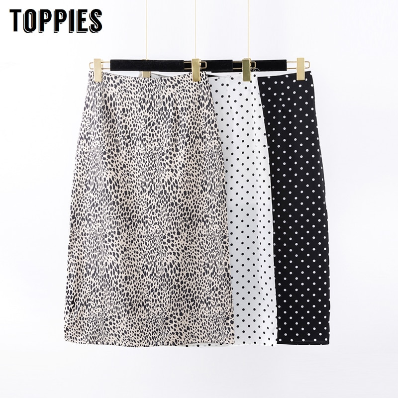 Leopard Print Straight Skirts High Waist Polka Dot Skirts Women Korean 2020 Spring Fashion Streetwear