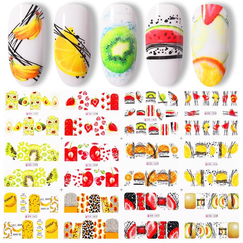 1 hoja grande Fruta de verano calcomanías de agua/fruta de Kiwi/Banana/limón/de diseños de uñas DIY envolturas de pegatinas deslizante Decoración
