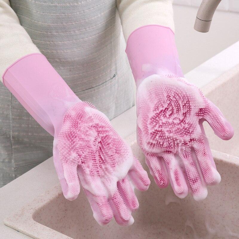 Accesorios de cocina cepillo de limpieza y guantes de silicona lavavajillas frutas verduras cubertería para cocina cepillos herramientas utensilios de cocina