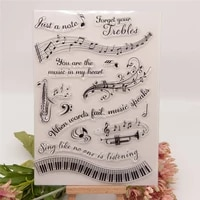 cling stamp of music note speaker electronic organ scrapbooking paper diy card album soft seal transparent stencil painting ink