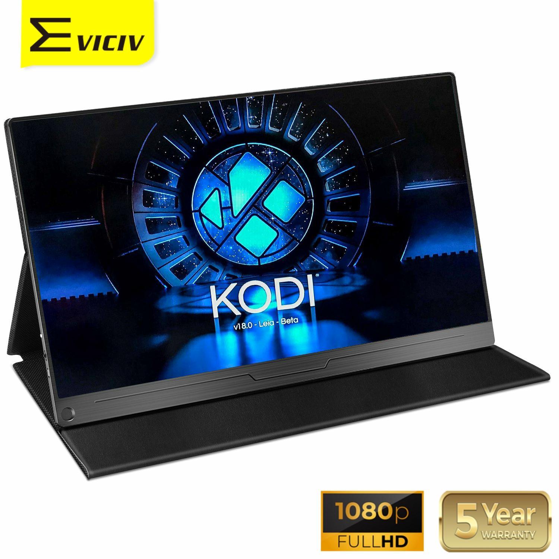 EVICIV-شاشة Raspberry Pi LCD محمولة ، 15.6 بكسل ، مشغل وسائط ، Arduino ، كمبيوتر محمول ، كمبيوتر شخصي ، مكبر صوت متعدد الشاشات ، 1080 بكسل