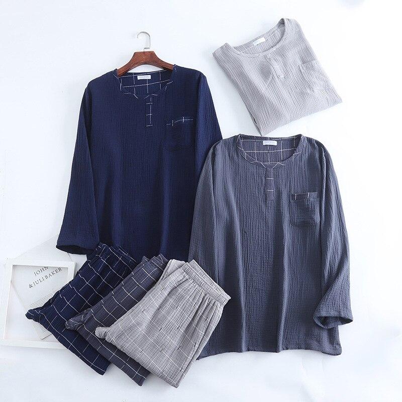 Весна мужчины пижамы с круглым вырезом длинный рукав одежда для сна двойной слой стирка марля пижамы плед брюки ночное белье плюс размер дом костюм