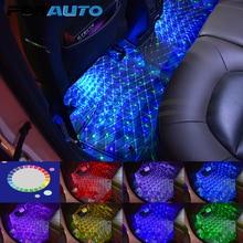 FORAUTO 4 en 1 RGB lampe ambiante voiture intérieur pied sol lumières musique son contrôle/Normal USB voiture LED atmosphère lumières
