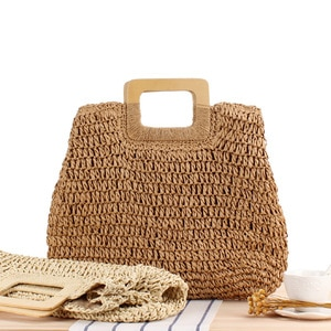 Fashion DIY Portable Hand Woven Hollow Out Bag Large Capacity Straw Beach Holiday Handbag Wooden Handle With Compartments
