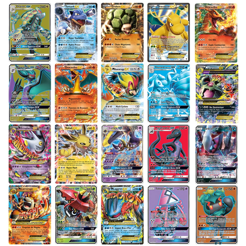 TOMY 120 Uds Pokemon lote de tarjetas francesas con 80tag equipo 20mega 20 ultra beast Gx
