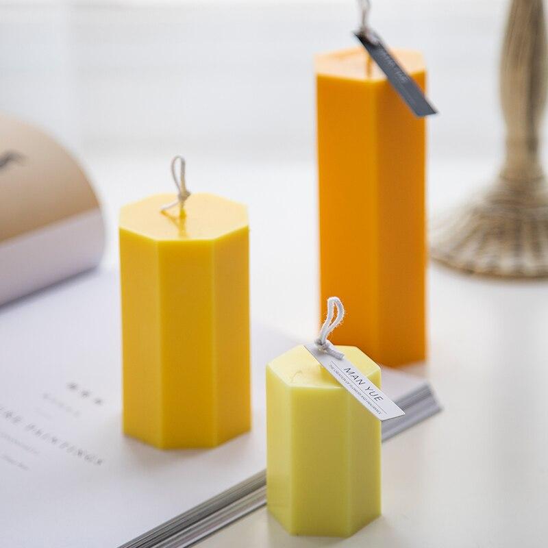 Шестигранная акриловая Форма для свечей, Пластиковая форма для поделок, Пластиковая форма для свечей, простой дизайн, европейский стиль, фо...