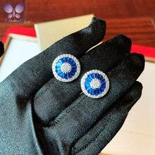 100% 925 boucles doreilles en argent Sterling ronde de haute qualité Simulation saphir blanc diamant boucles doreilles dames bijoux de mariage