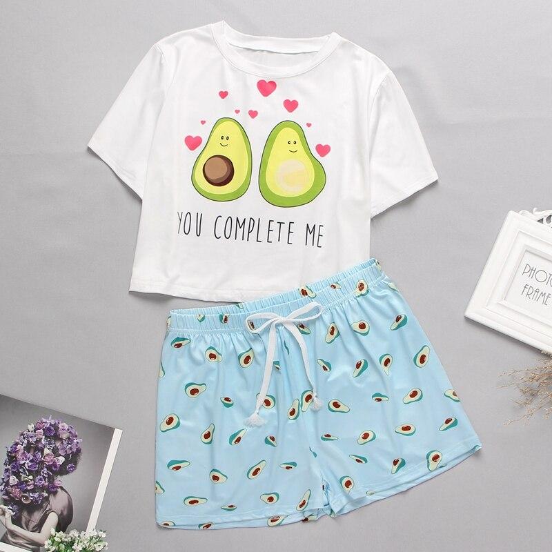 Женская домашняя одежда, милый пижамный комплект с мультяшным принтом, Повседневная футболка с коротким рукавом, одежда для сна, комплект н...