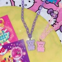 HUANZHI 2020 новая милая Флокированная мультяшная медведь акриловая ацетатная цепочка розового фиолетового цвета однотонное ожерелье для женщи...