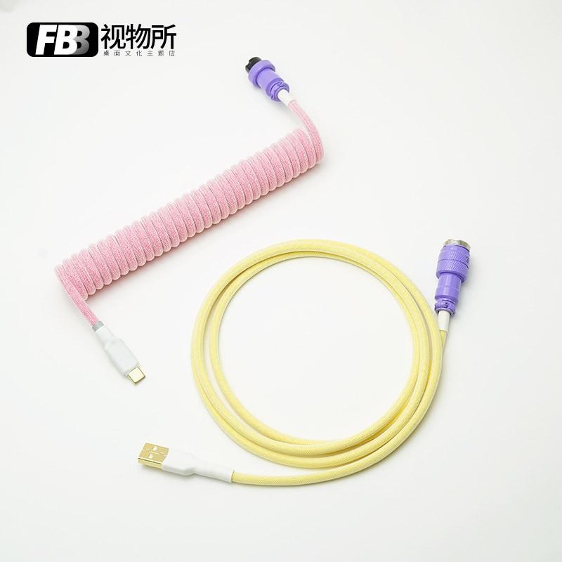 كابلات FBB نوع C كابل بيانات لوحة المفاتيح الميكانيكية اليدوية Keycap خط صغير ميركو إلى موصل USB لتقوم بها بنفسك كابل ملفوف قابل للفصل