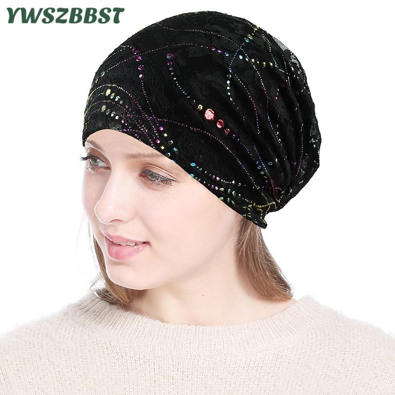 Новая весенне-осенняя кружевная женская шапка Skullies, дышащая Кепка для кондиционирования воздуха, вязаная теплая хлопковая Женская Шапка-би...
