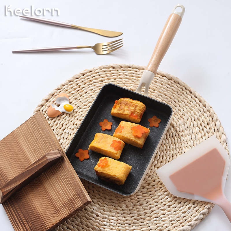 Keelorn 18*13cm pan antiaderente pote japonês lanche pote pan forno de indução disponível pan cozinha ferramenta