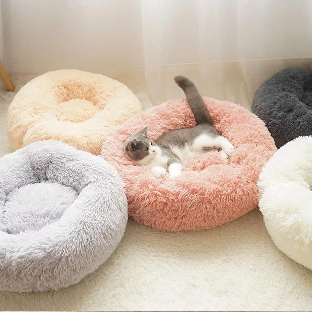 Cama de gato, cojín, alfombra de piel sintética, cama de Gato autocalentante y perro, cama de felpa redonda antideslizante para gato, cama para dormir profunda
