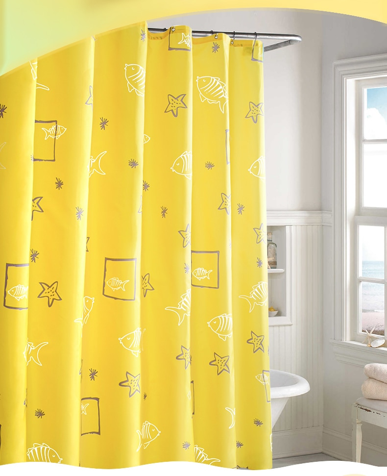 Nordic Modern Shower Curtains Waterproof Polyester Yellow Bathroom Shower Curtain Funny Tende Home Decoration Accessories DK50SC enlarge
