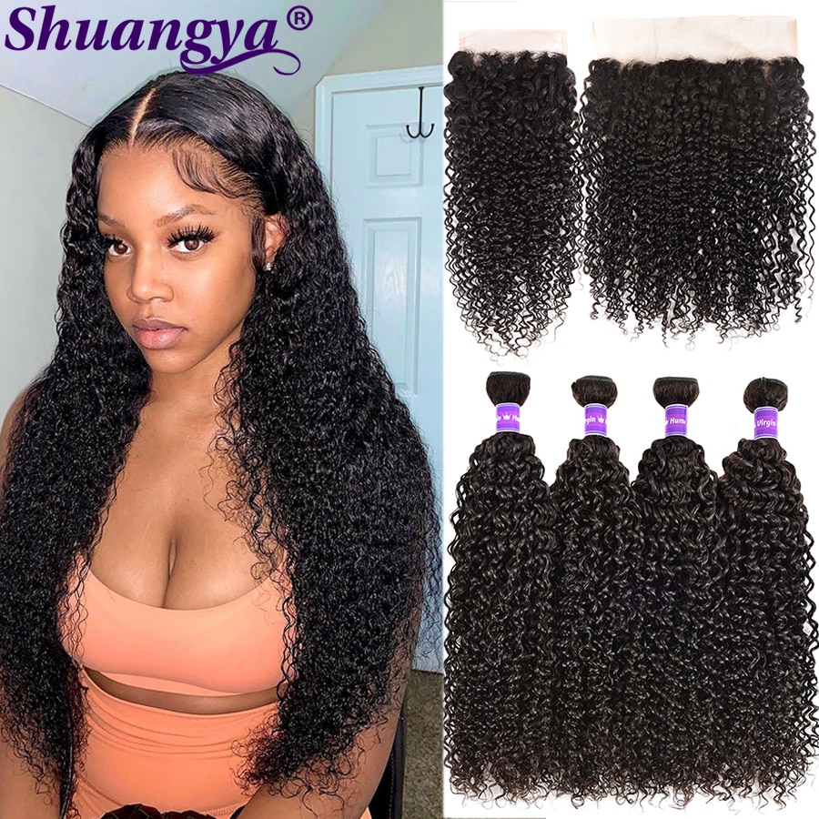 Transparent Lace Kinky Curly Hair Bundles With Frontal 100% Remy Human Hair Peruvian Curly Wave Hair Bundles With 5x5 HD Closure