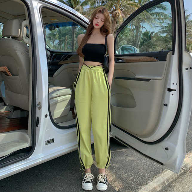 Sports Style Suit Net Red White Yellow Striped Elastic Waist Casual Pants Summer Black Tube Top Two-