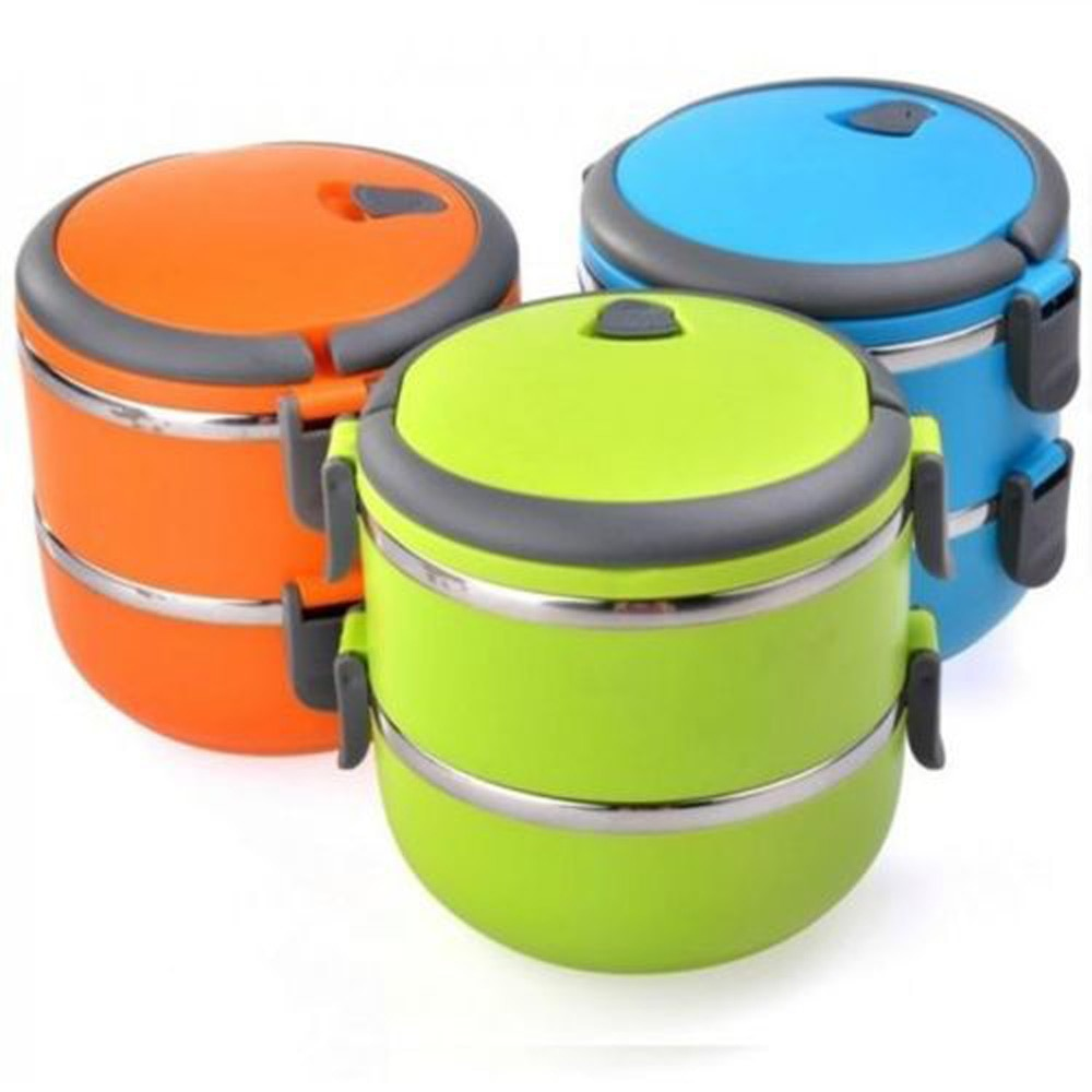 Caja de almuerzo de viaje de 2 capas, caja de almacenamiento de alimentos para viajes al aire libre, caja de contenedores de comida Bento para Picnic