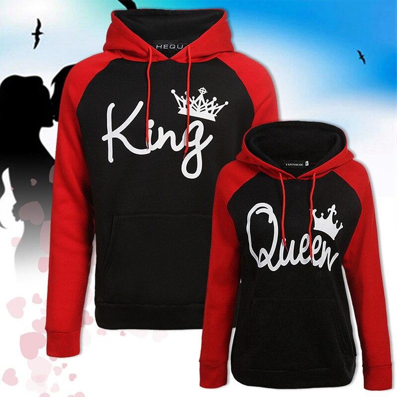 Хит продаж 2020 года! Толстовки с капюшоном и принтом король и королева, толстовки с длинным рукавом, толстовки для пар