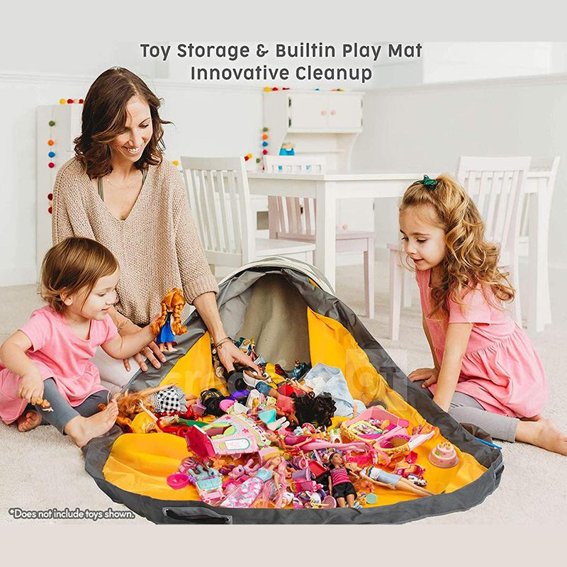 حقيبة تخزين كبيرة لتنظيف الألعاب للأطفال ، مكعبات بناء ، حصيرة ، حاوية ، متعددة الوظائف ، محمولة ، قماش ، لعبة فنية ، دلو