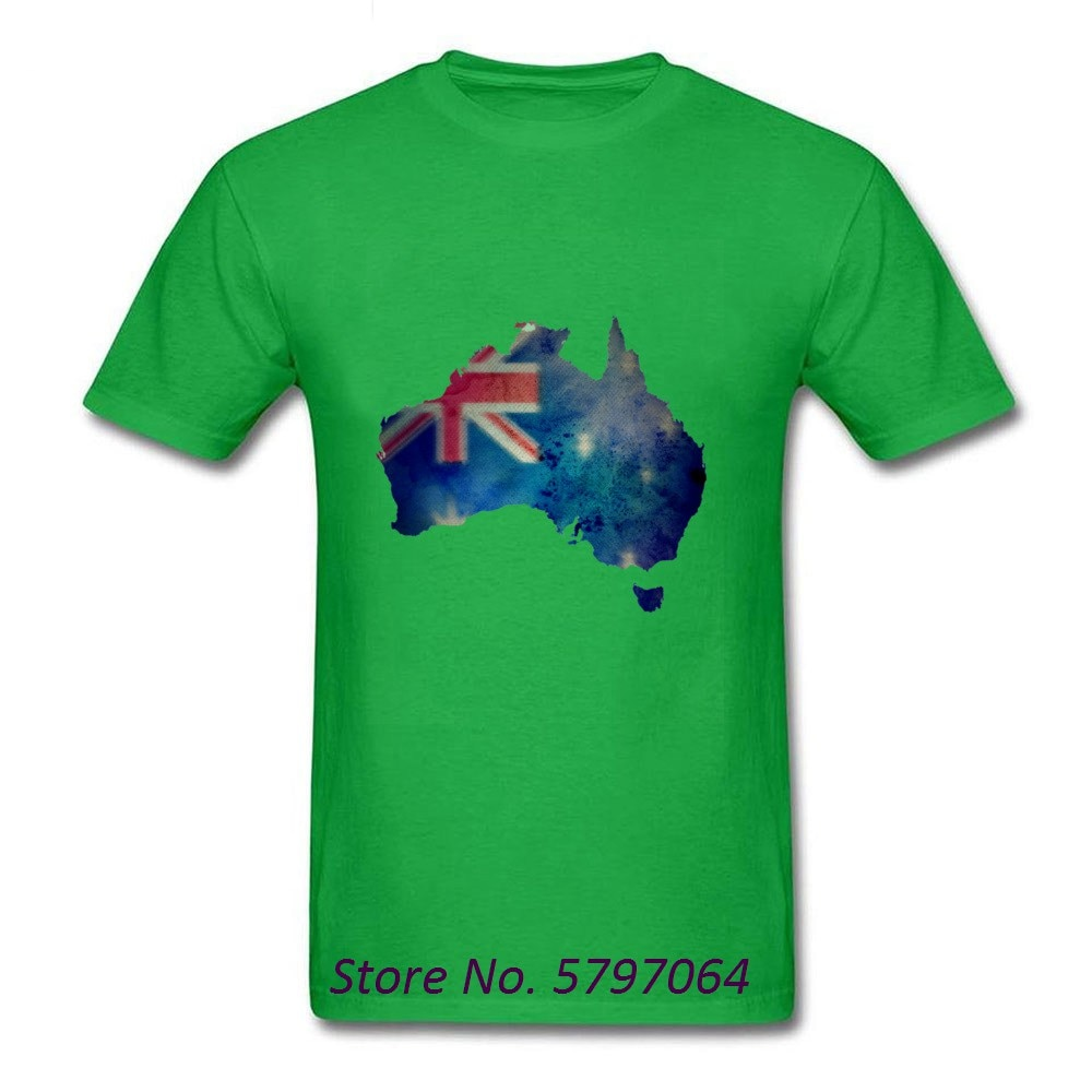 2020 Galaxy Australia acuarela mapa camiseta familia grupo 100% algodón hombres camiseta Top diseño tela No se desvanece camiseta negro