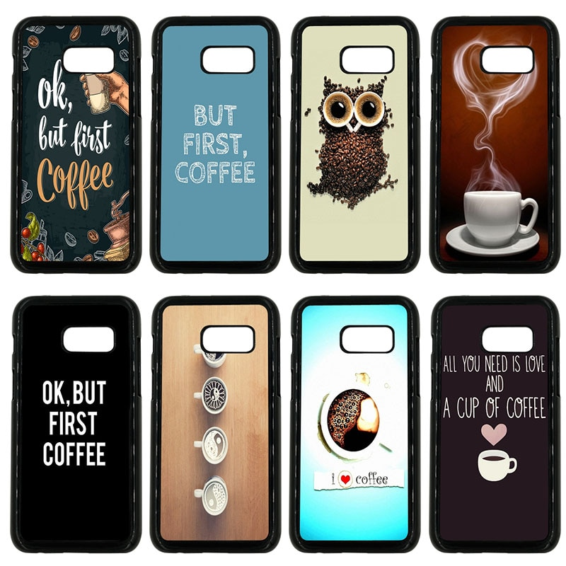 OK But First Coffee funda de teléfono móvil dura PC cubierta de plástico para Samsung Galaxy A3 A5 A7 A8 2015 2016 2017 2018 Note 8 7 5 3 Shell