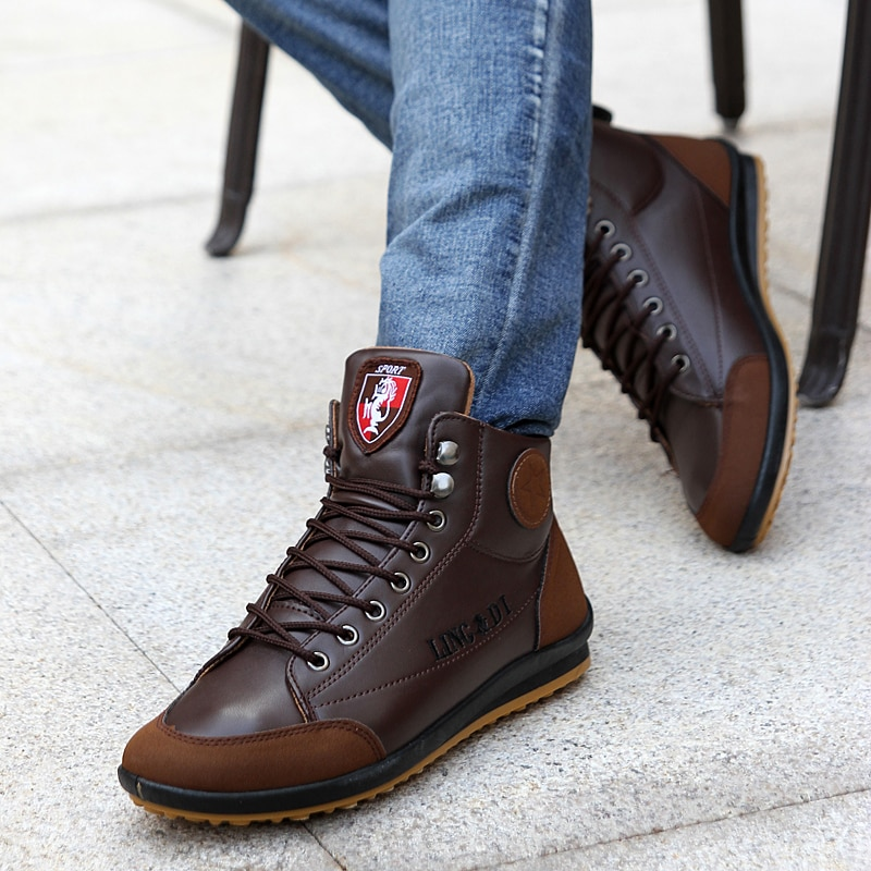 Newbeads Men's Leather Boots Autumn and Spring British Retro Comfy Lace-Up Casual High Top Boots Fashion Shoes Soft Sole