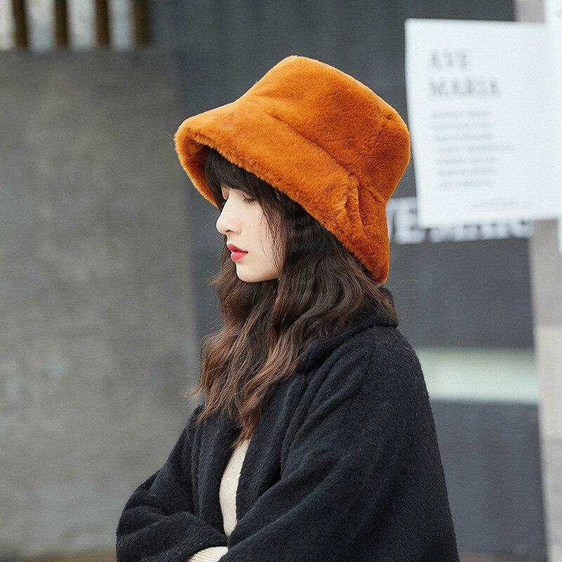 Рыбацкая шляпа Дамы на осень-зиму плюшевые горшок шляпа falt топ широкие карнизы повседневные модные, толстый теплый меховой теплую шапку SL-07
