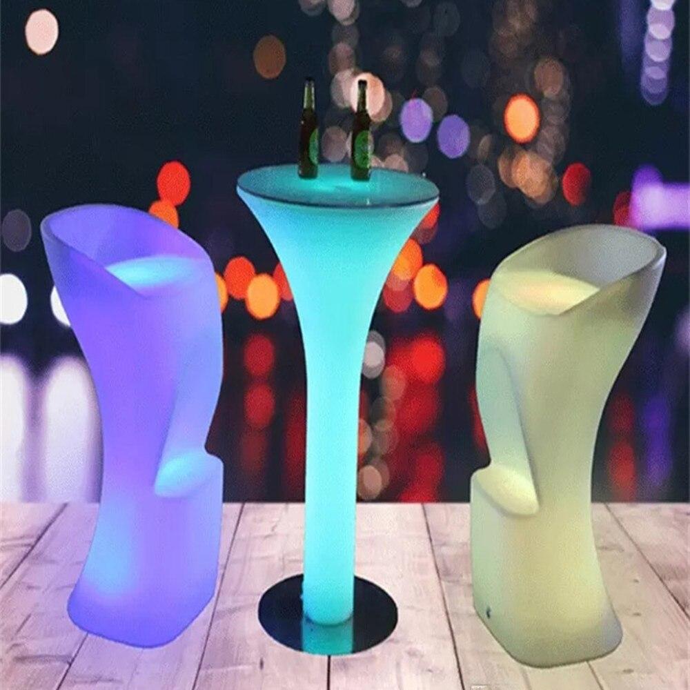 جديد LED مضيئة طاولة مشروبات IP54 مقاوم للماء البلاستيك طاولة بار D60 * H110cm شعاع ضوء لنادي الديسكو لوازم الأثاث طاولة مشروبات
