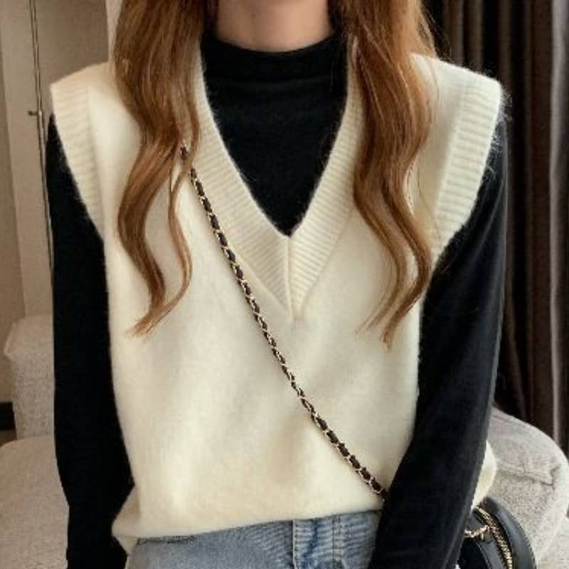 Sweater Vest Women Sleeveless For Knit Vest Knitted Tops  Oversize v neck Pullover Sweater womens Solid Loose-fitting Tank top недорого