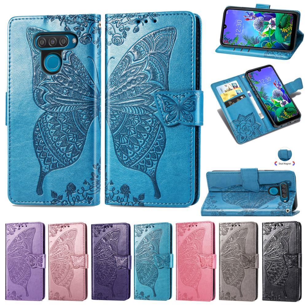 Lujosa funda de teléfono tipo billetera de cuero con flores y mariposas para LG Q60, Fundas con tapa para LG Q60 LGQ60, Fundas, Fundas