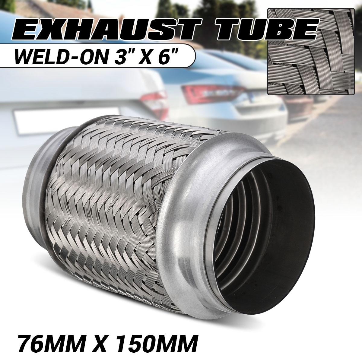 """1/2x tubo de escape de aço inoxidável solda-em 3 """"x 6"""" silenciadores escape flex tubo comum flexi reparação flexi tubo 76mm x 150mm 762226"""
