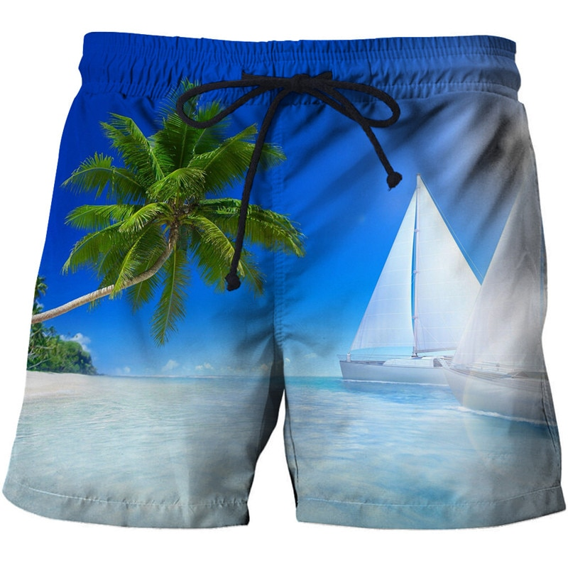Модные мужские шорты для серфинга, повседневные пляжные быстросохнущие шорты с 3D принтом волн и кокоса, спортивные брюки унисекс