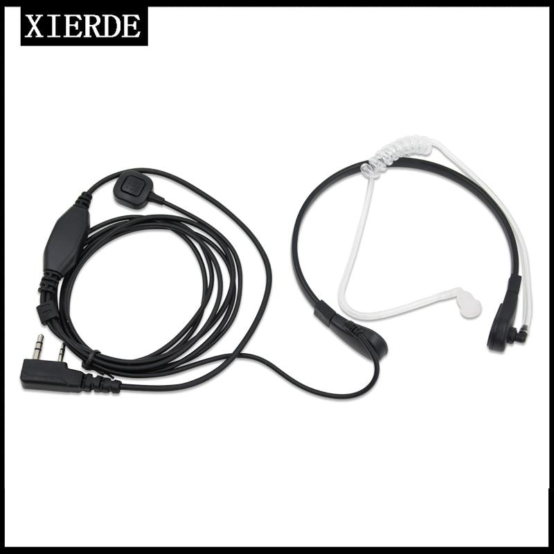 Garganta microfone microfone ptt laryngofon tubo de ar fone ouvido alto-falante para baofeng walkie talkie cb rádio UV-5R uv b5 GT-3TP UV-5X