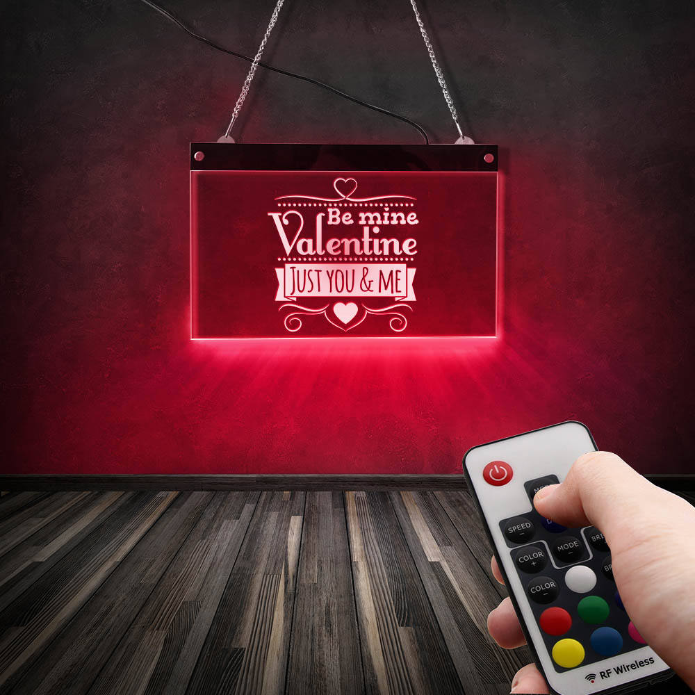 Apenas você e eu personalizado casamento decorativo led sinal de néon pendurado placa de acrílico ser minha valentine casamento aniversário exibição luz