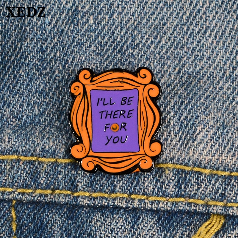 Espejo mágico con marco de madera retro XEDZ, pin para ti, broche esmaltado para camisa, broche para solapa, joyería para amigos