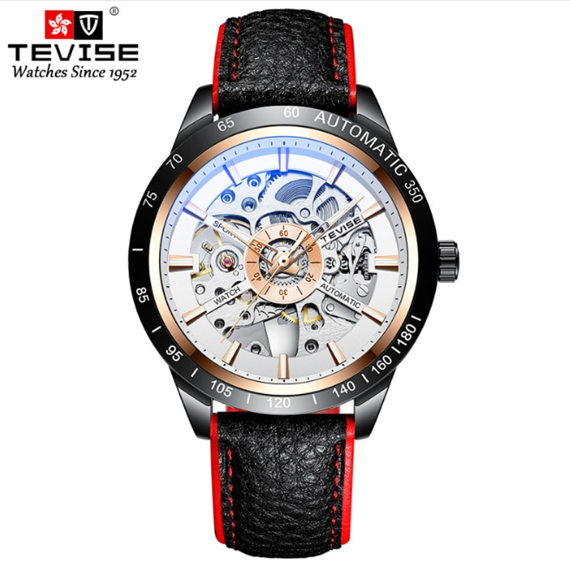 TEVISE Brand Cool Connotation Automatic Magic Mechanical Hollow Out Mens Watch Luminous Calm Male Wr