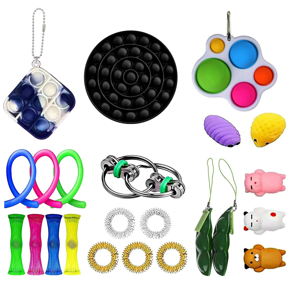 23 Pack Anti Stress Fidget Toys Set Stretchy Strings Key Chain Relief Gift Adults Children Sensory Stress Relief Fidget Toys enlarge